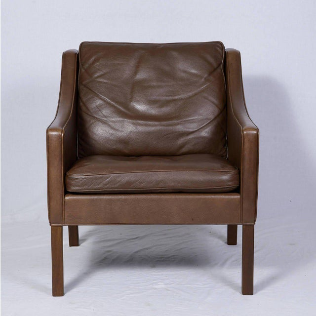 Pair of Borge Mogensen Model #2207 Leather Lounge Chairs - Image 4 of 9