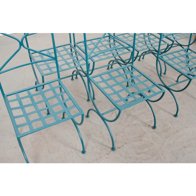 1900 - 1909 Suite of Eight Early 20th-Century Neoclassical-Style Painted Wrought-Iron Side Chairs For Sale - Image 5 of 13