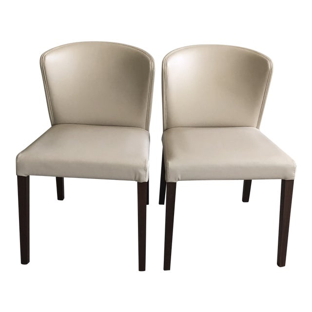 Crate & Barrel Italian Mid-Century Modern Dining Chairs - A Pair For Sale