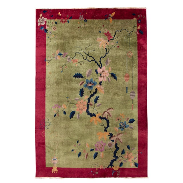 Early 20th Century Antique Chinese Art Deco Rug For Sale