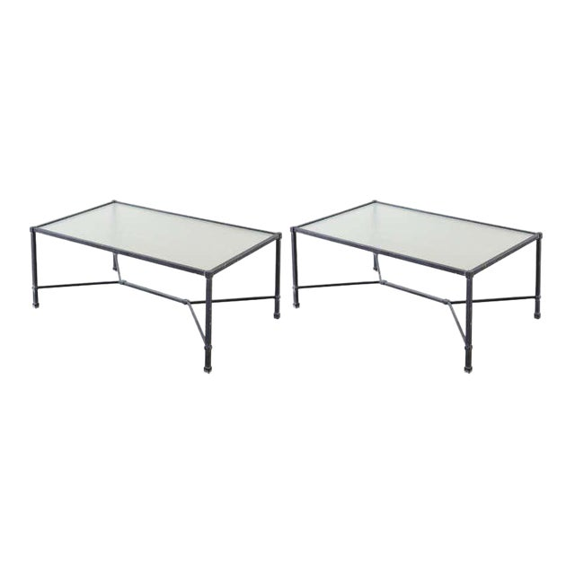 Stylish pair of Brown Jordan patio and garden coffee or cocktail tables. Constructed from powder-coated wrought aluminum...