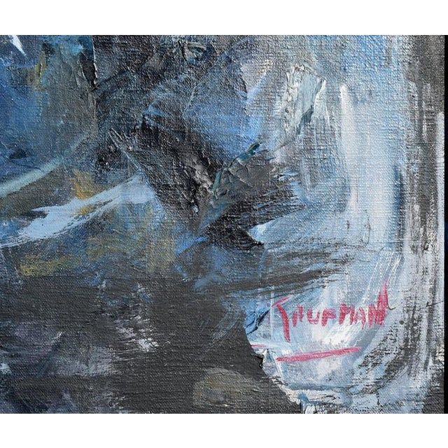 Blue & Black Abstract Expressionist Painting For Sale - Image 5 of 5