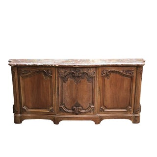 18th Century French Provincial Carved Wood Credenza or Buffet With Pink Serpentine Marble Top France 1700s For Sale