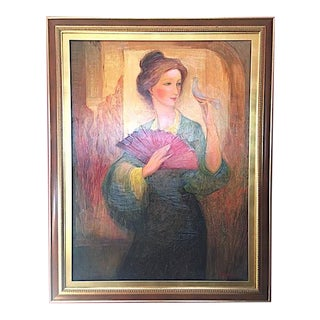 """""""Woman with Bird"""" Framed Painting by Marina Grigoryan For Sale"""