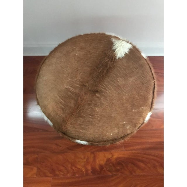 Circular Upholstered Cowhide Bench For Sale - Image 4 of 7