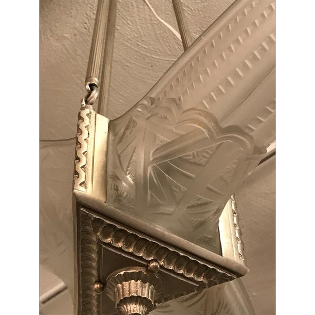 French Art Deco Triangular Starburst Chandelier For Sale - Image 4 of 12
