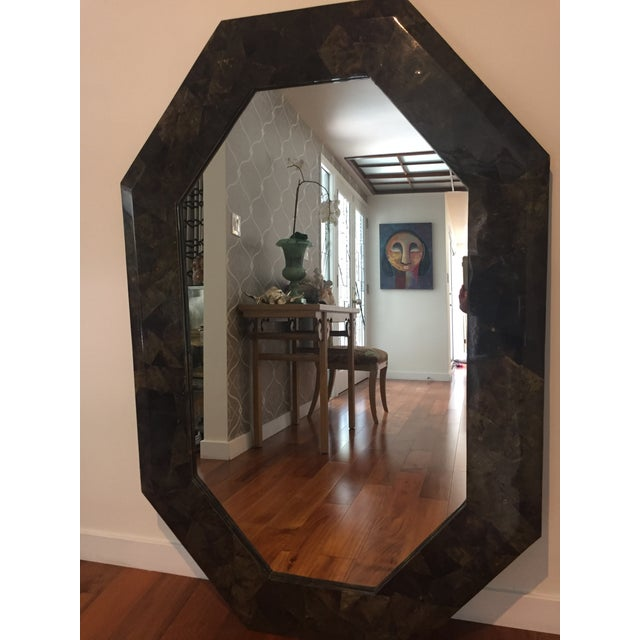 "54"" X 36"" Coconut Shell Mosaic Mirror For Sale - Image 4 of 5"