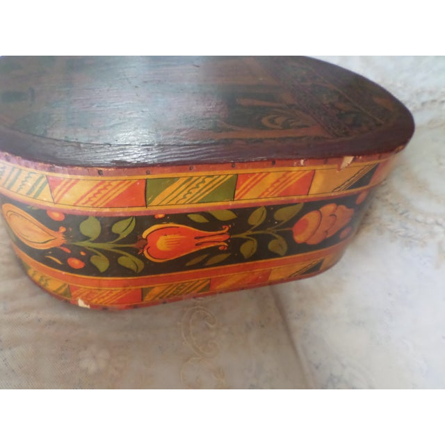 Rustic European Antique Tony Sarg Nantucket Hand Painted Wooden Bride Box For Sale - Image 3 of 12