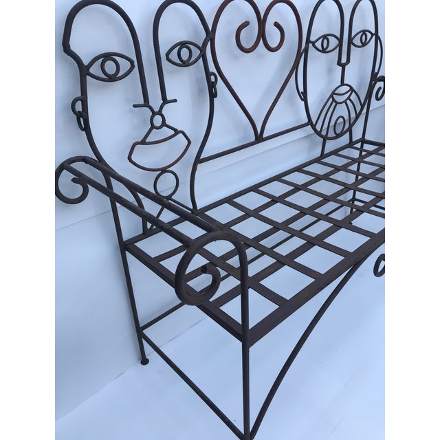 1960s Retro Modern Whimsical Figurative Steel Bench For Sale - Image 9 of 13