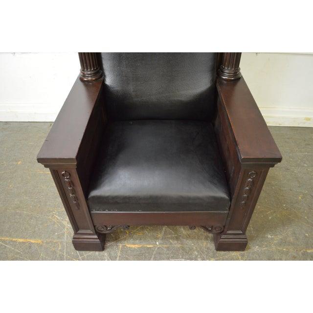 Antique High Back Mahogany Masonic Throne Chair