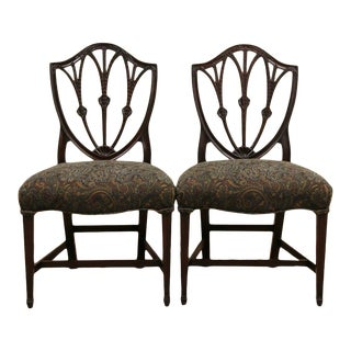 Early 20th Century Shield Back Hepplewhite Mahogany Dining Side Chairs by Charak - a Pair For Sale
