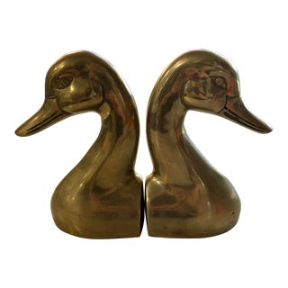 20th Century Art Deco Brass Duck Bookends - A Pair For Sale
