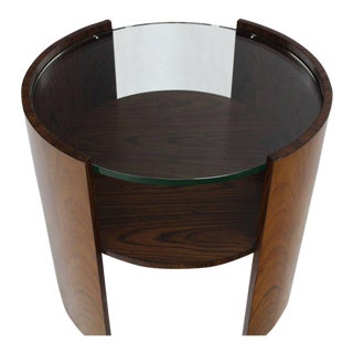 Rosewood Round Glass Top Barrel Shape Side Occasional Table For Sale