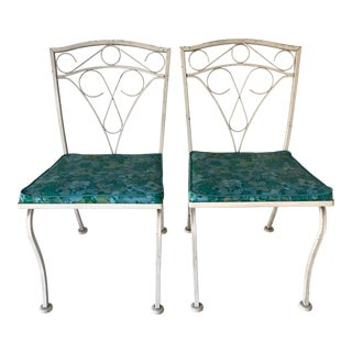Pair MidCentury Modern Style Wrought Iron Outdoor Dining Chairs For Sale