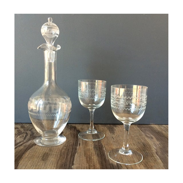 3-Piece Etched Tribal Decanter & Glasses Set - Image 2 of 7