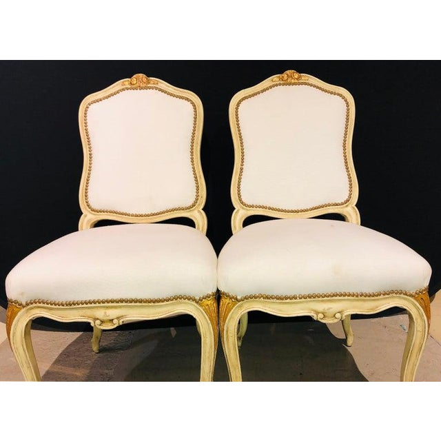 Labeled Jansen Fine Pair of Oversized Side or Desk Chairs in Parcel Gilt Paint For Sale In New York - Image 6 of 13