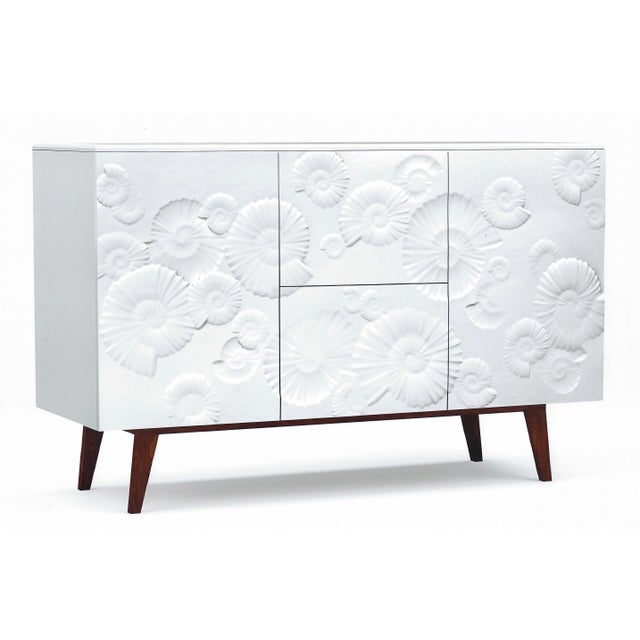 Contemporary Italian White Sideboard Or Cabinet With Burgundy Wood Legs