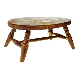 Vintage Pennsylvania Dutch Wooden Stool For Sale