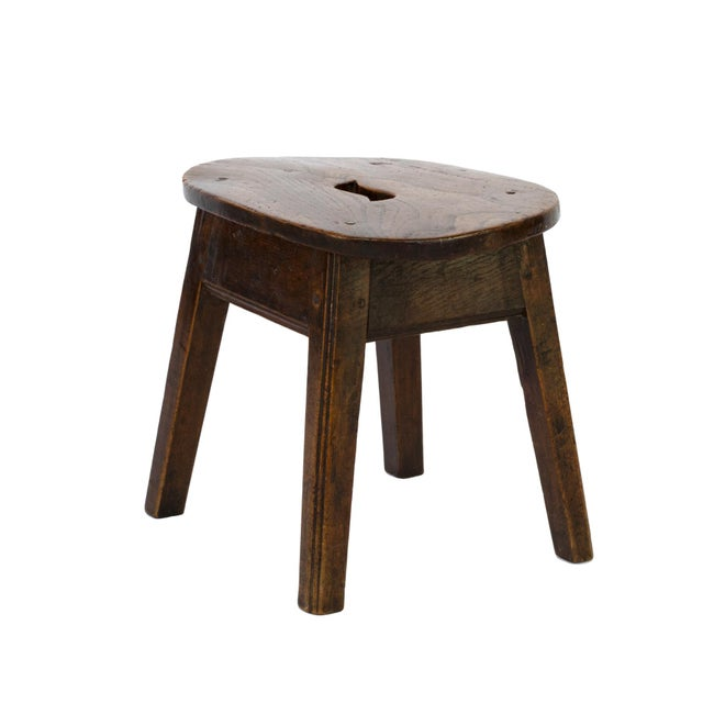 Early 19th Century Oval Elmwood Work Stool With Pierced Top, English, Circa 1830 For Sale - Image 5 of 5