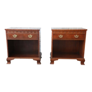 Baker Furniture Chippendale Style Mahogany Nightstands, Pair For Sale