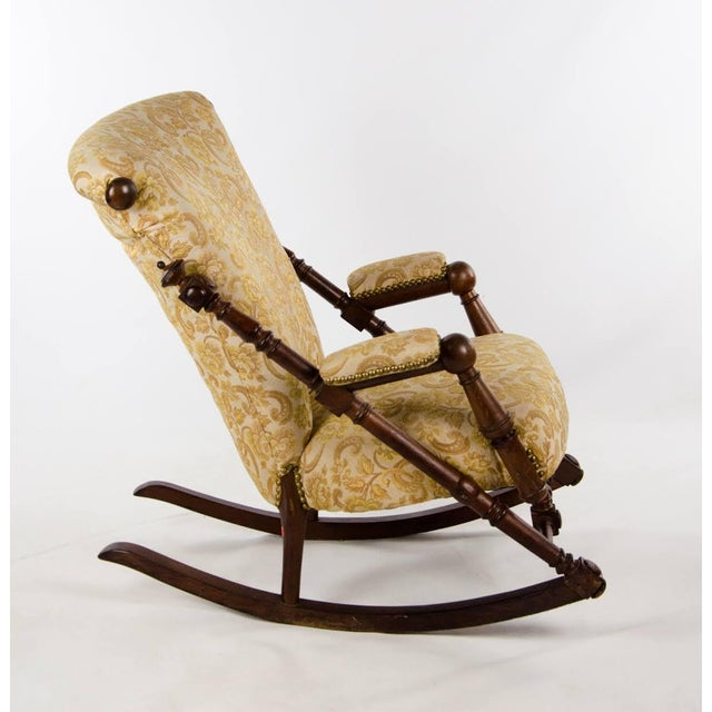 Victorian Late 19th Century Victorian Style Floral Upholstered Walnut Rocking Chair For Sale - Image 3 of 13