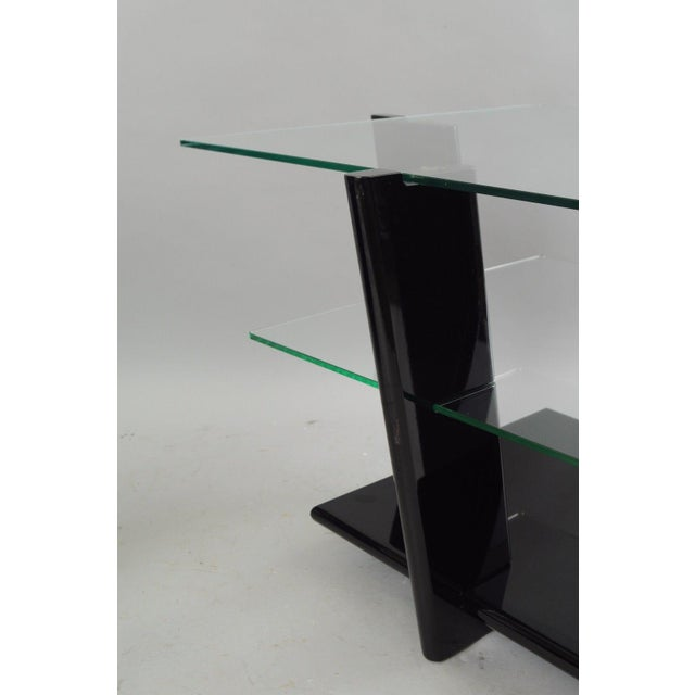 Pair of Contemporary Modern Black Lacquer & Glass 3 Tier End Tables Sculptural For Sale - Image 4 of 11