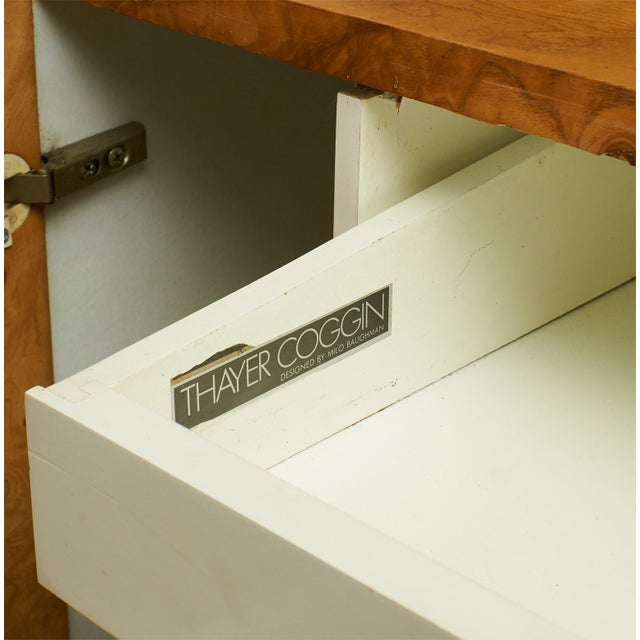 Thayer Coggin Tall burlwood credenza by Milo Baughman For Sale - Image 4 of 6