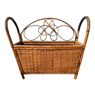 Vintage Mid-Century Bamboo and Rattan Magazine / Book Rack For Sale