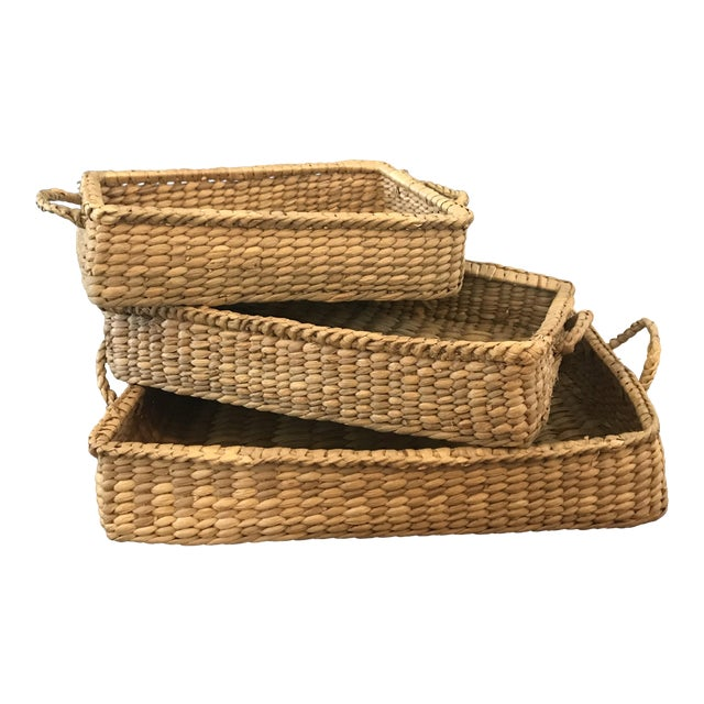 Wicker Basket Trays - Set of 3 - Image 1 of 7