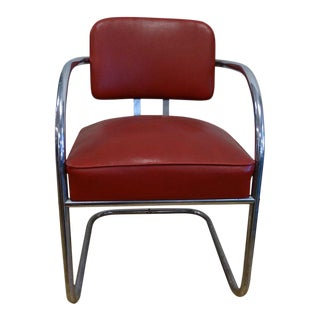 Art Deco Chrome & Red Vinyl Club Chair