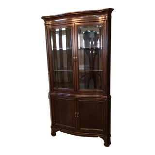 Chippendale Glass-Front Corner China Cabinet For Sale