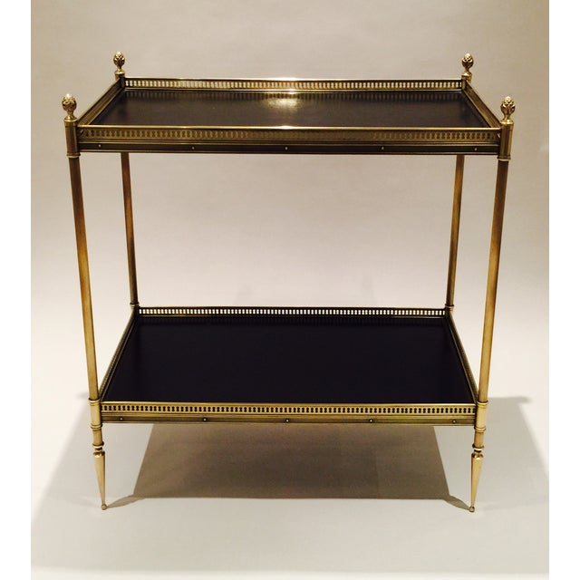 Brass and Leather Occasional Table - Image 3 of 5