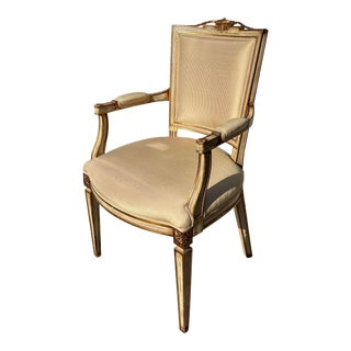 Directoire Style Fauteuil Arm Chair W Silk Stripe Cushions For Sale