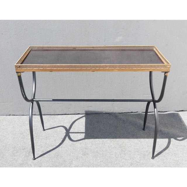 Hollywood Regency French Black Granite X Console Table - Image 2 of 10