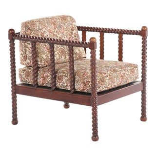 20th Century Oak Barley Twist Lounge Chair For Sale