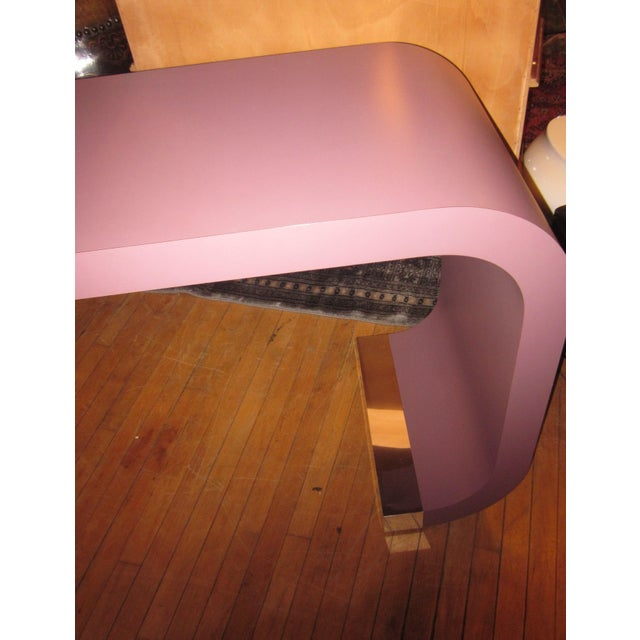 Purple Vintage Postmodern Lavender Mauve Pink-Purple Waterfall Console Table For Sale - Image 8 of 11