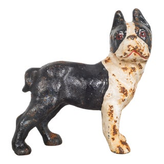 Cast Iron Hubley Boston Terrier Coin Bank C.1910 For Sale