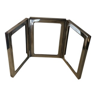 Vintage Polished Nickel - Silver Three - Part Photo Frame For Sale