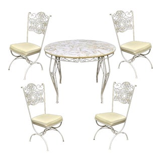 Vintage Woodard Andalusian Wrought Iron Patio Sunroom Dining Set