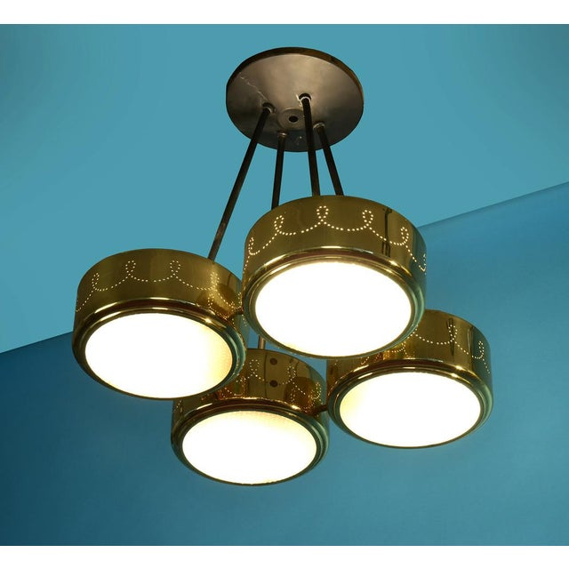 Boho Chic Gerald Thurston for Lightolier Four Shade Chandelier, Circa 1950's For Sale - Image 3 of 9