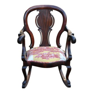 Antique Victorian Mahogany Rocking Chair With Brunschwig & Fis Red & Yellow Toile Cushion For Sale
