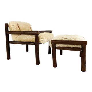 Forsyth X Old Hickory Butte Chair and Ottoman With Custom California Sheepskin Cushions and Loro Piana Buffalo Leather For Sale