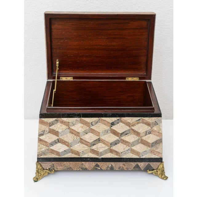 Brass English Regency Style Tessellated Stone Box For Sale - Image 7 of 11