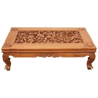 20th Century Realist Trompe l'Oeil Foliage Fauna Carved Detail Teak Coffee Table For Sale