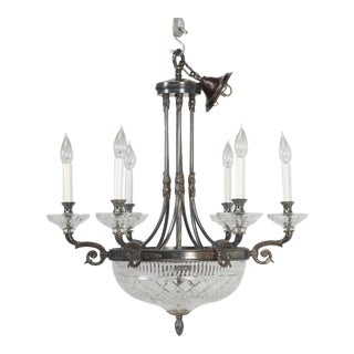 Vintage Chandelier With Cut-Glass For Sale