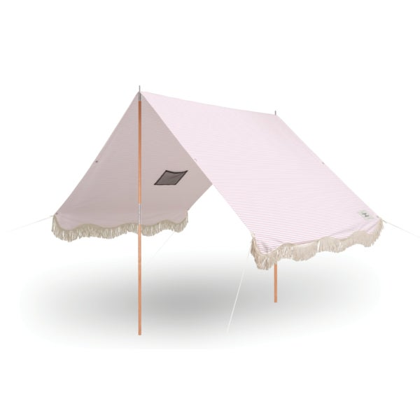 Business & Pleasure Premium Beach Tent - Lauren's Pink Stripe With Fringe For Sale - Image 4 of 4