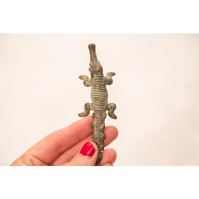 Vintage Oxidized Crocodile Bronze Gold Weight For Sale - Image 5 of 6