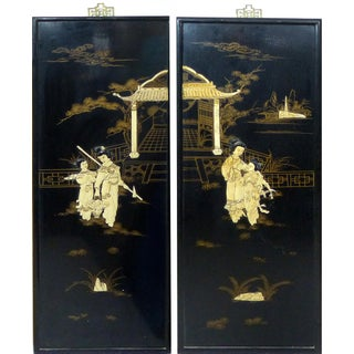Vintage Japanese Wall Plaques - A Pair For Sale
