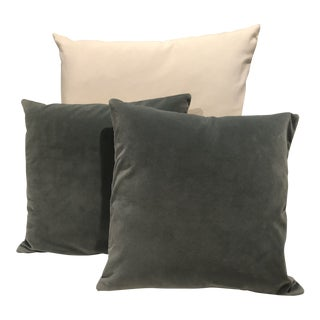 Pottery Barn Teal Velvet and Linen Pillows - A Pair For Sale