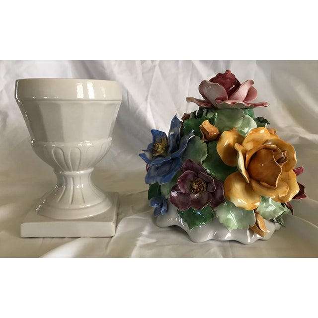 Capodimonte Style Porcelain Flower Arrangement - Image 4 of 6